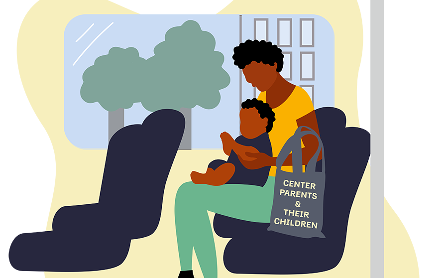 African American woman on the bus with a toddler