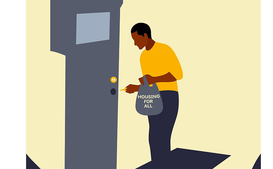 African American man opening door